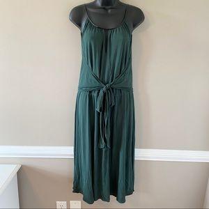 Elie Tahari Green Sleeveless Midi Wrap Dress